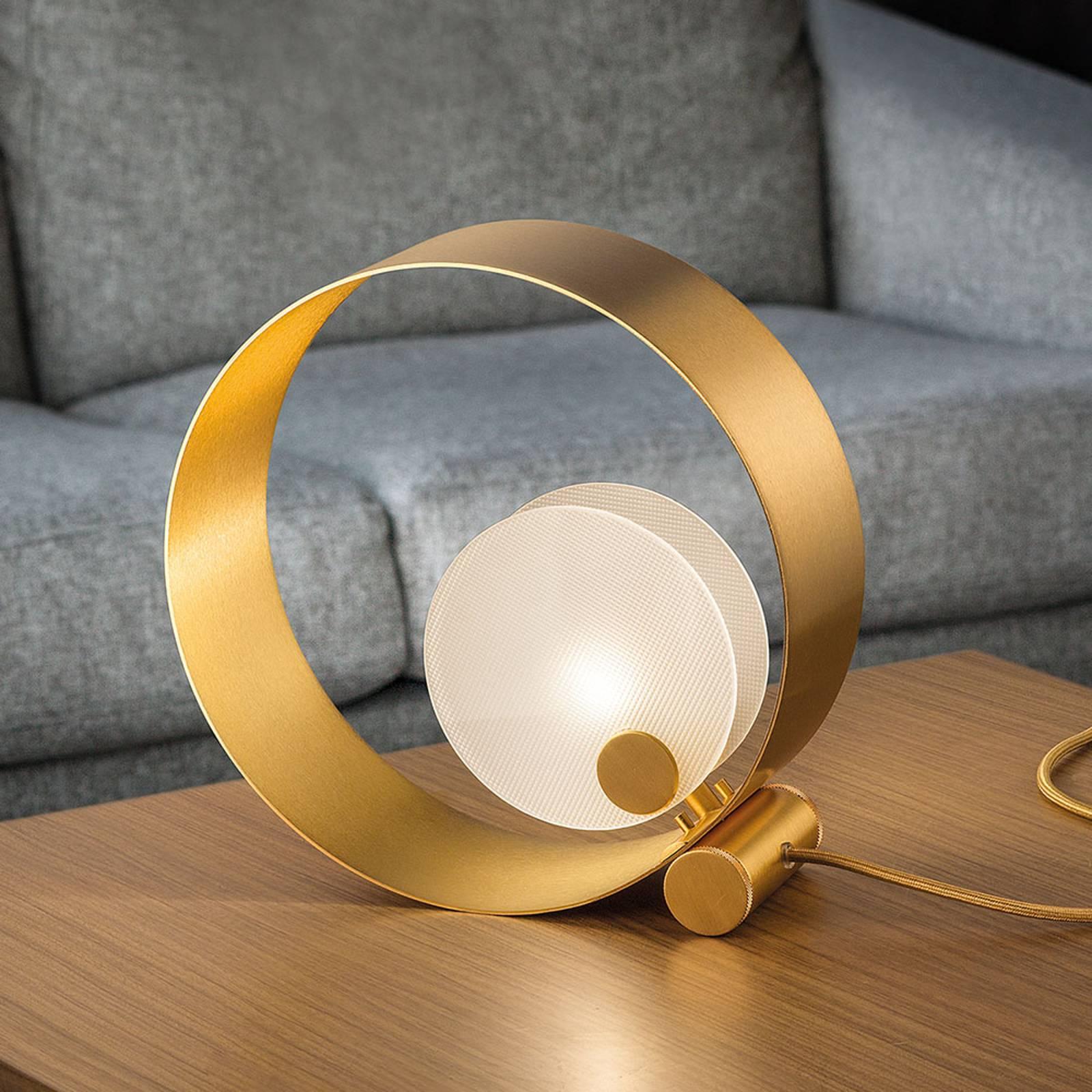Tafellamp Sound TL1, rond, gouden frames, G9