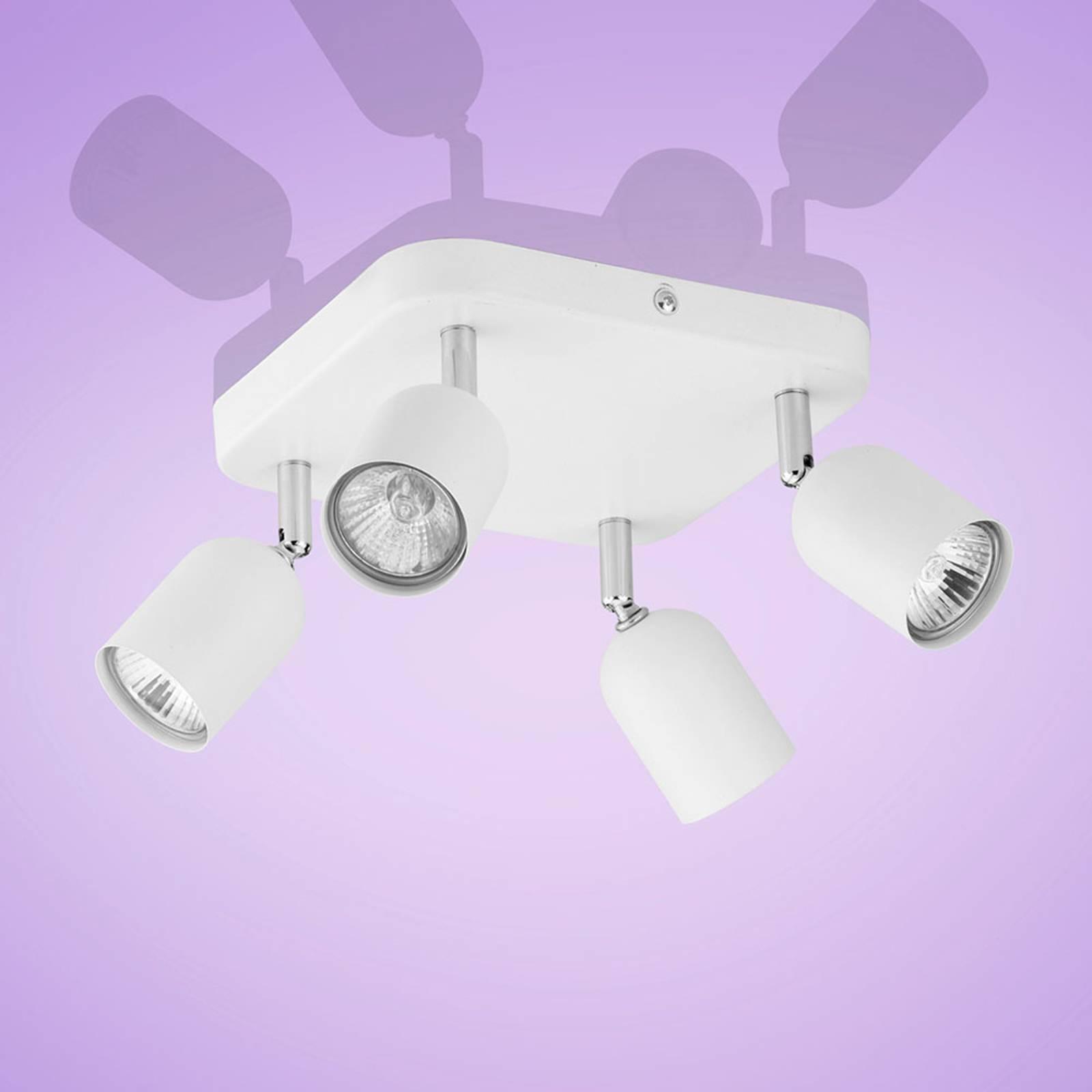 Plafonnier à spots Top, 4 lampes, carré blanc
