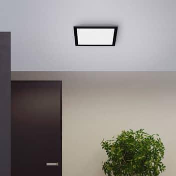 LED-taklampa Flat, CCT, svart, kvadratisk