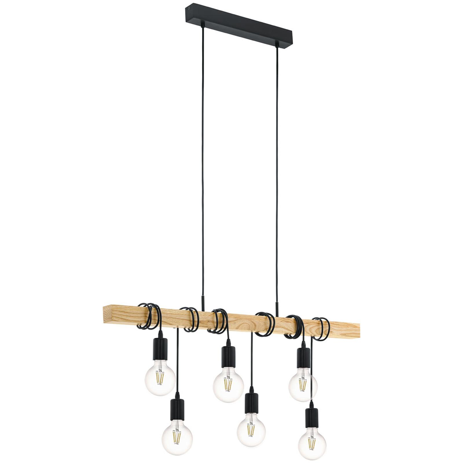 Suspension Townshend avec du bois 6lampes