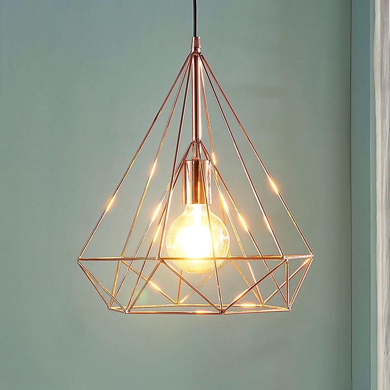 Klatkowa lampa wisząca Jossa, miedź