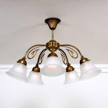 Taklampe OLGA av messing med fem lys