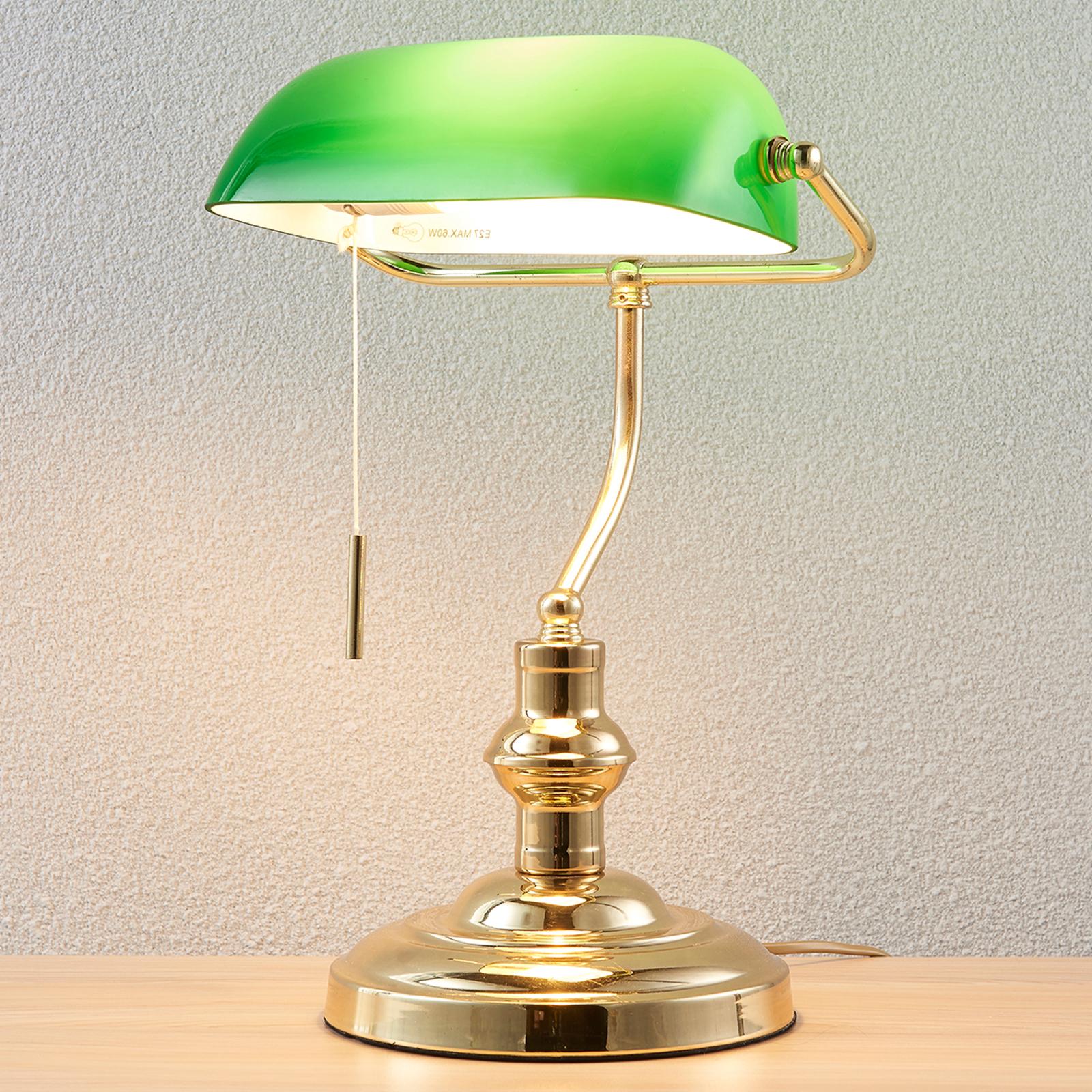 Bankerlampe Milenka, messing poliert