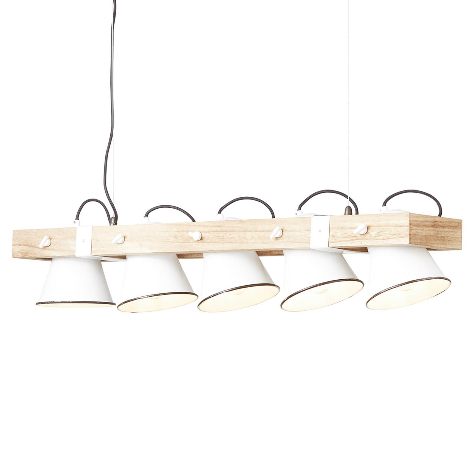 Lampada a sospensione Plow 5 luci bianco/legno