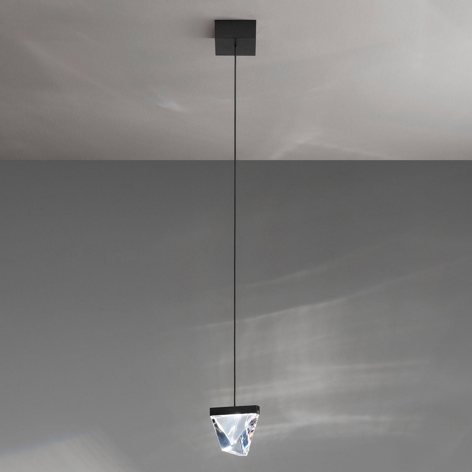 Fabbian Tripla LED závěsné světlo křišťál antracit