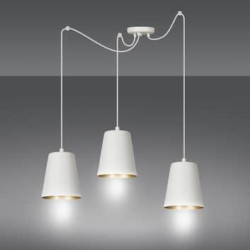 Lampa wisząca Link z trzema kloszami, biała