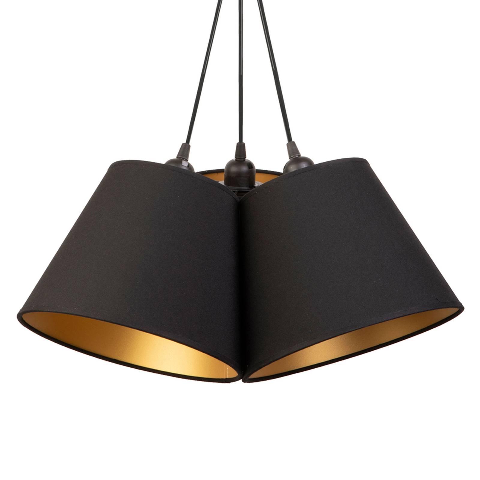 Suspension Twiggy, à 3 lampes, noire