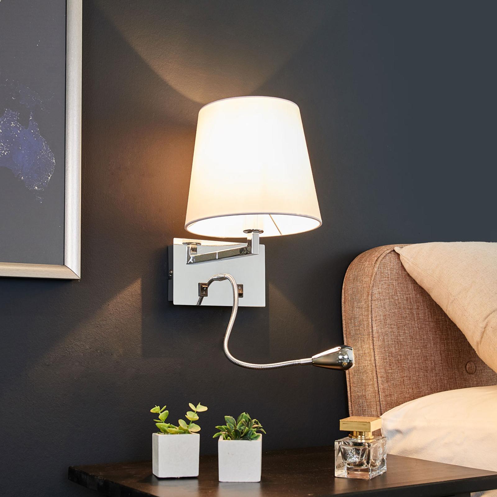 Florens textilvägglampa med LED läslampa | Lamp24.se
