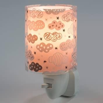 Clouds – lampka nocna LED do gniazdka, różowa