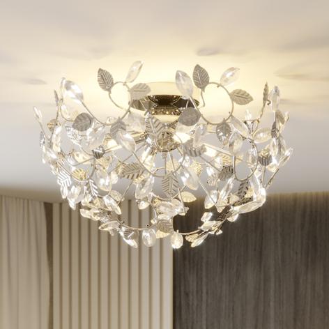 Bjarne - loftlampe i bladoptik med krystaller