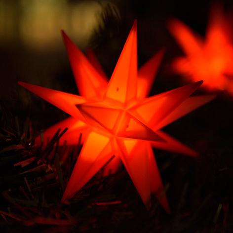 LED-lyslenke med 9 stjerner for ute, rød