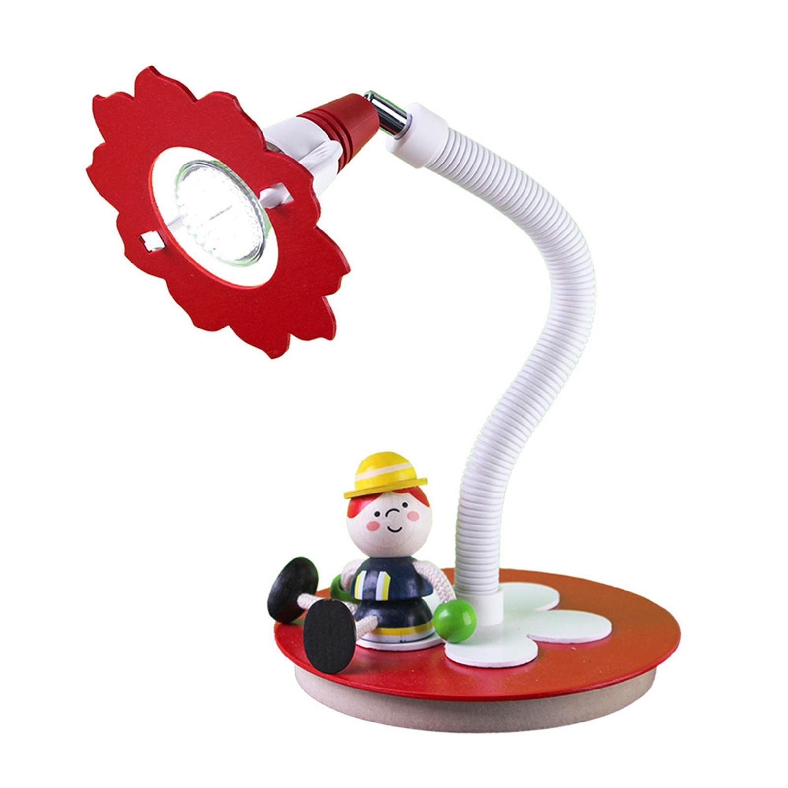 Lampe à poser LED pompier Fred, rouge-blanc