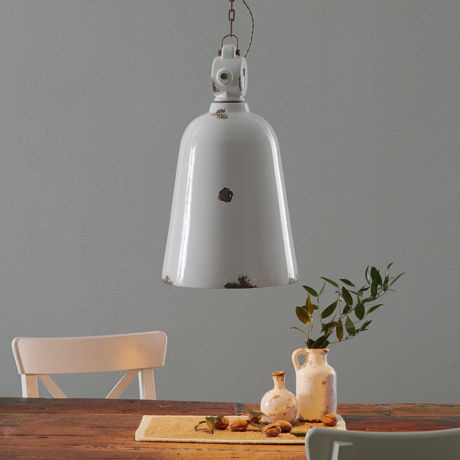 Vintage hanglamp C1745, conisch, wit