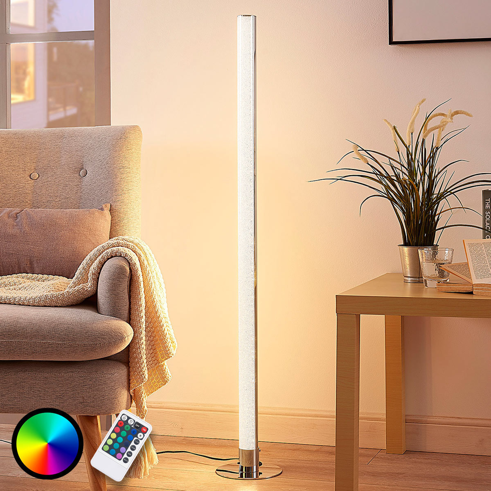 Avlång LED-RGB-golvlampa Hadis, dimbar