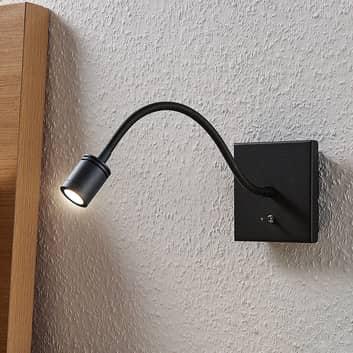 LED wandleeslamp Mayar met flexarm, zwart