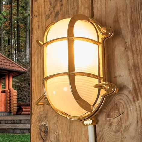 Oval væglampe Bengt til udendørs, messing