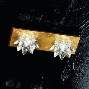 Plafondlamp Fiore met bladgoud en kristal