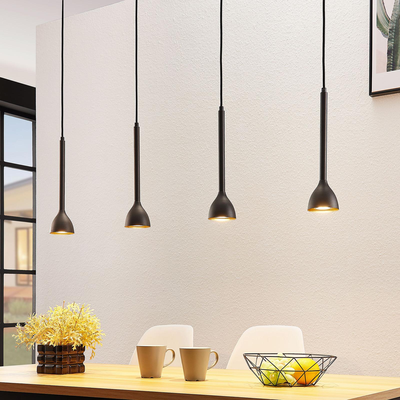 Hængelampe Nordwin, 4 lyskilder, sort/guld