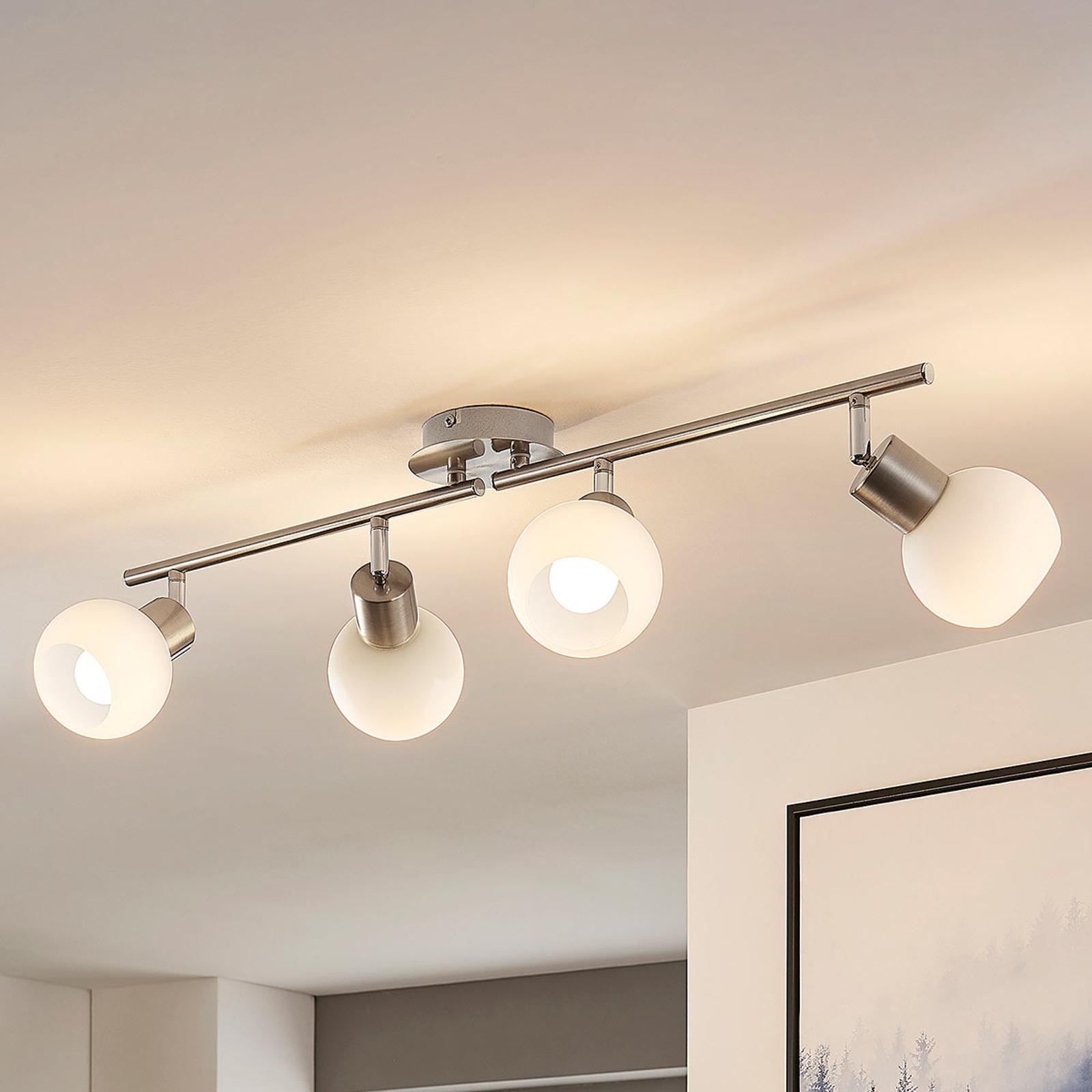 LED-taklampe Elaina med fire lys, matt nikkel