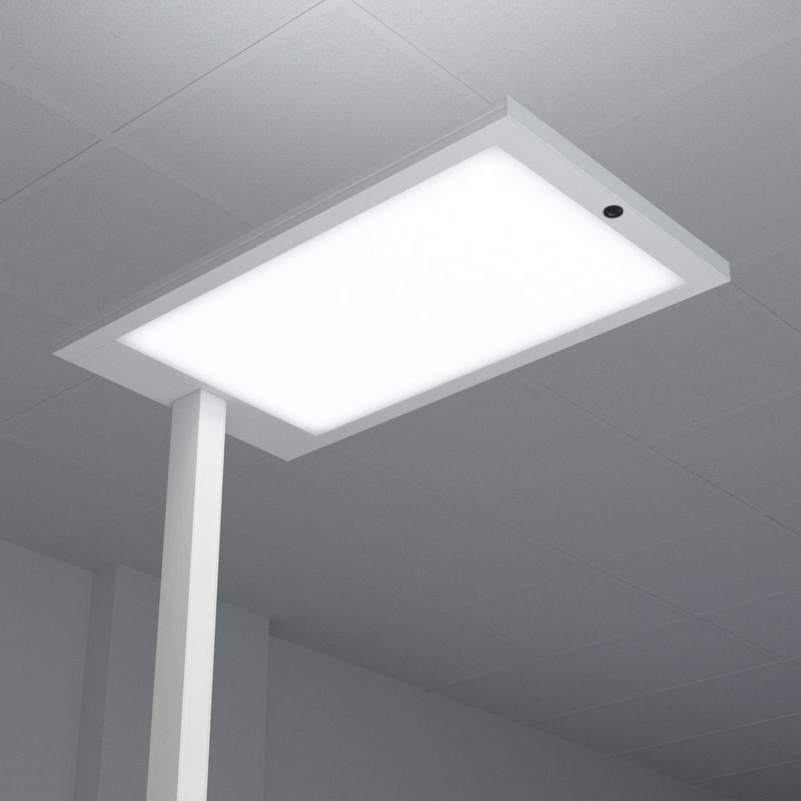 LED-Büro-Stehlampe Almira mit Dimmer, silber