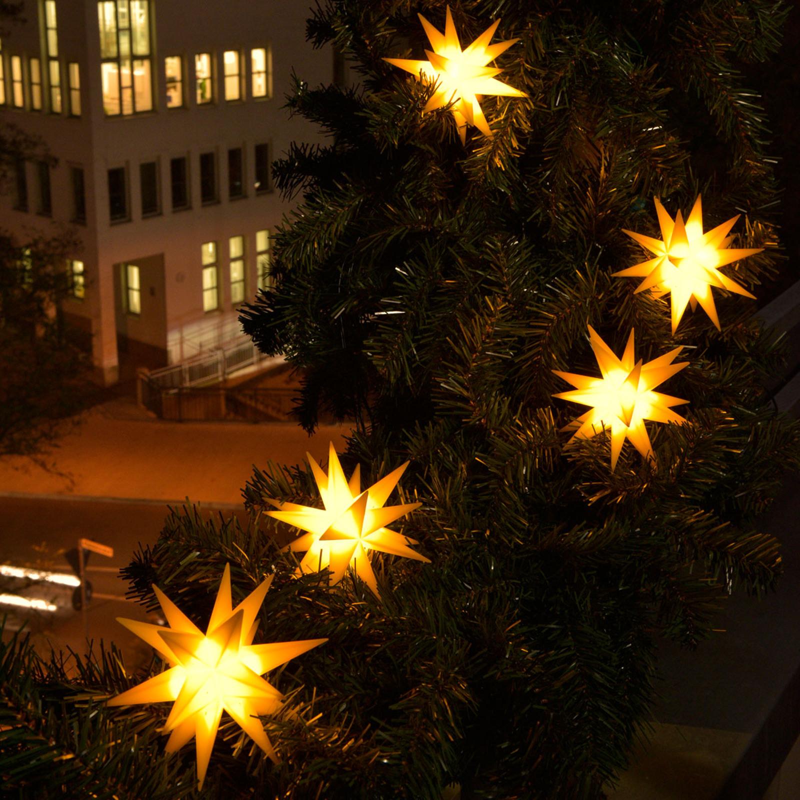 LED-lyslenke med 9 stjerner til utendørsbruk gul