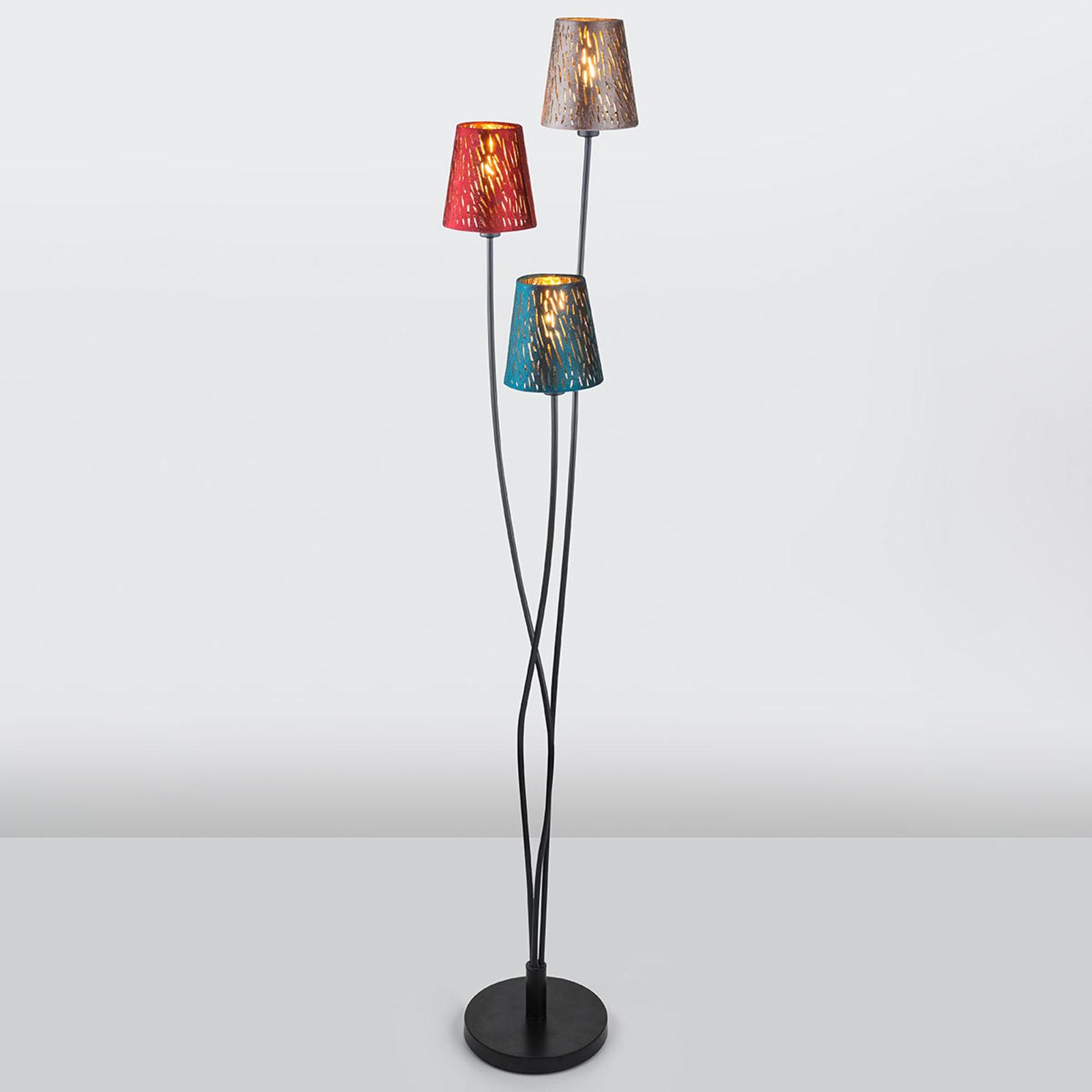 Ticon – lampa stojąca z materiałowymi kloszami