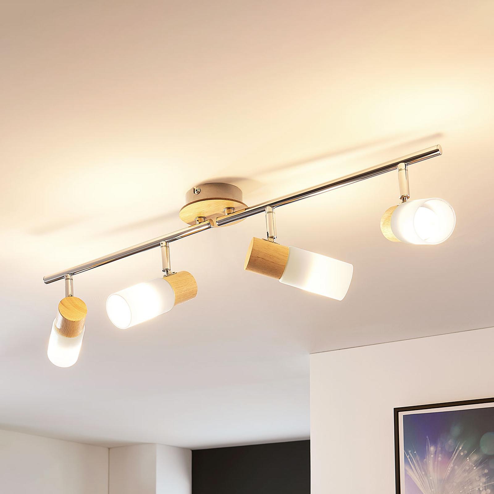 4-punktowa lampa sufitowa LED Krzysztof, drewno