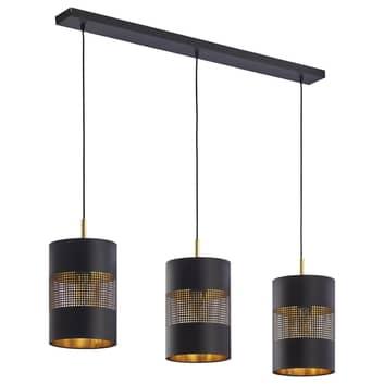 Bogart hængelampe, 3 lyskilder, sort/guld