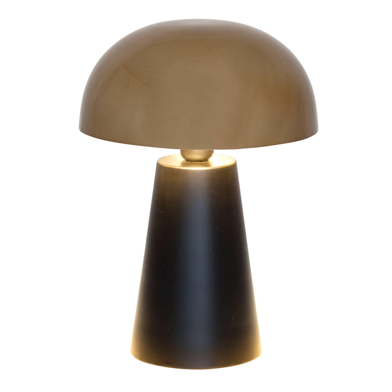 Tischleuchte Fungo, edel designt, schwarz/gold