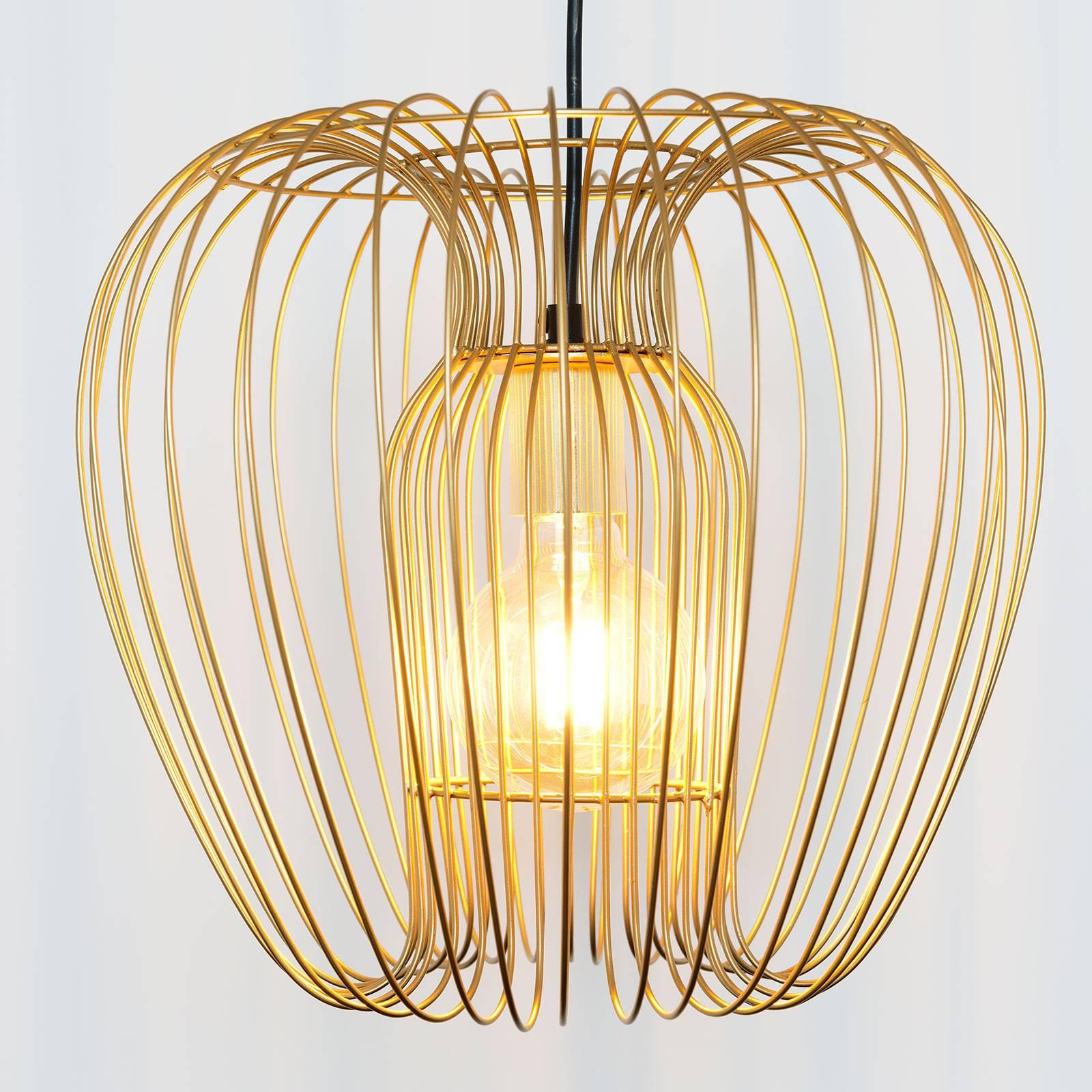 Hanglamp Protetto, goud, Ø 34 cm