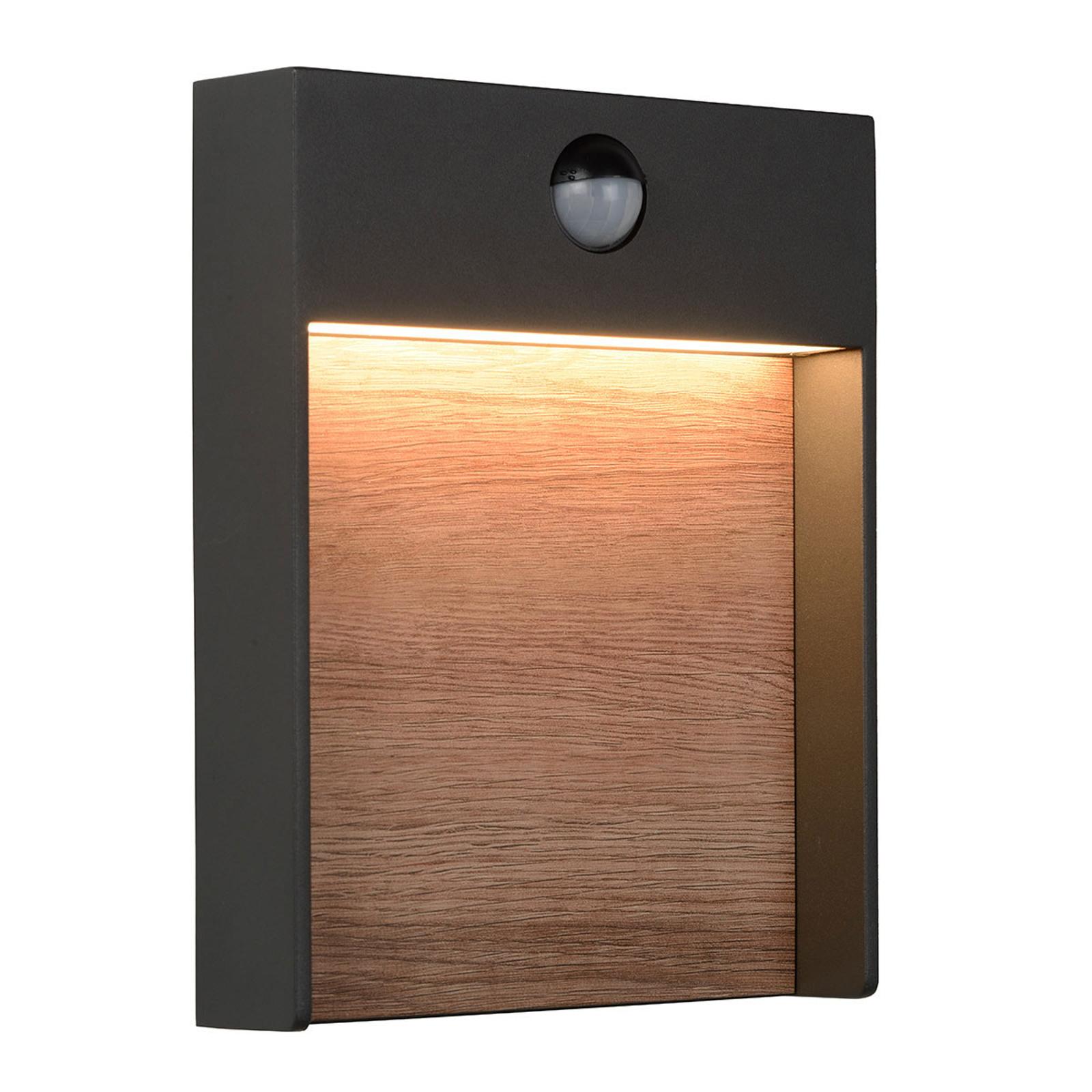 Applique d'extérieur LED Jellum avec décor en bois