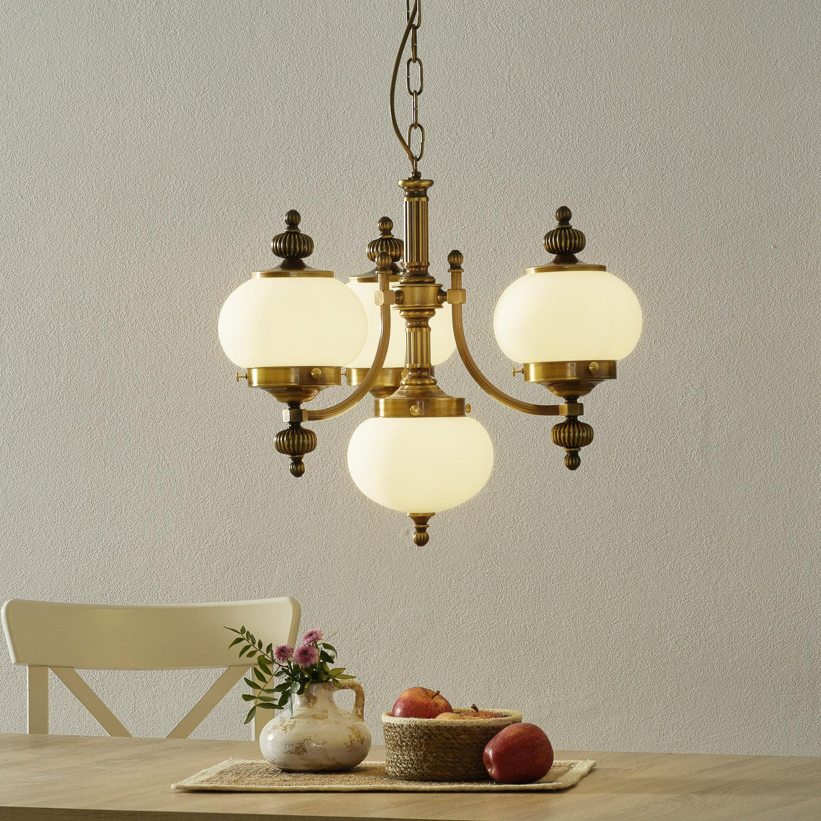 Hanglamp Delia in oud messing, 4-lamps