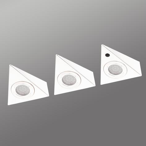 3kpl valk. LED-kaapinalusvalaisin Cabinet Spots