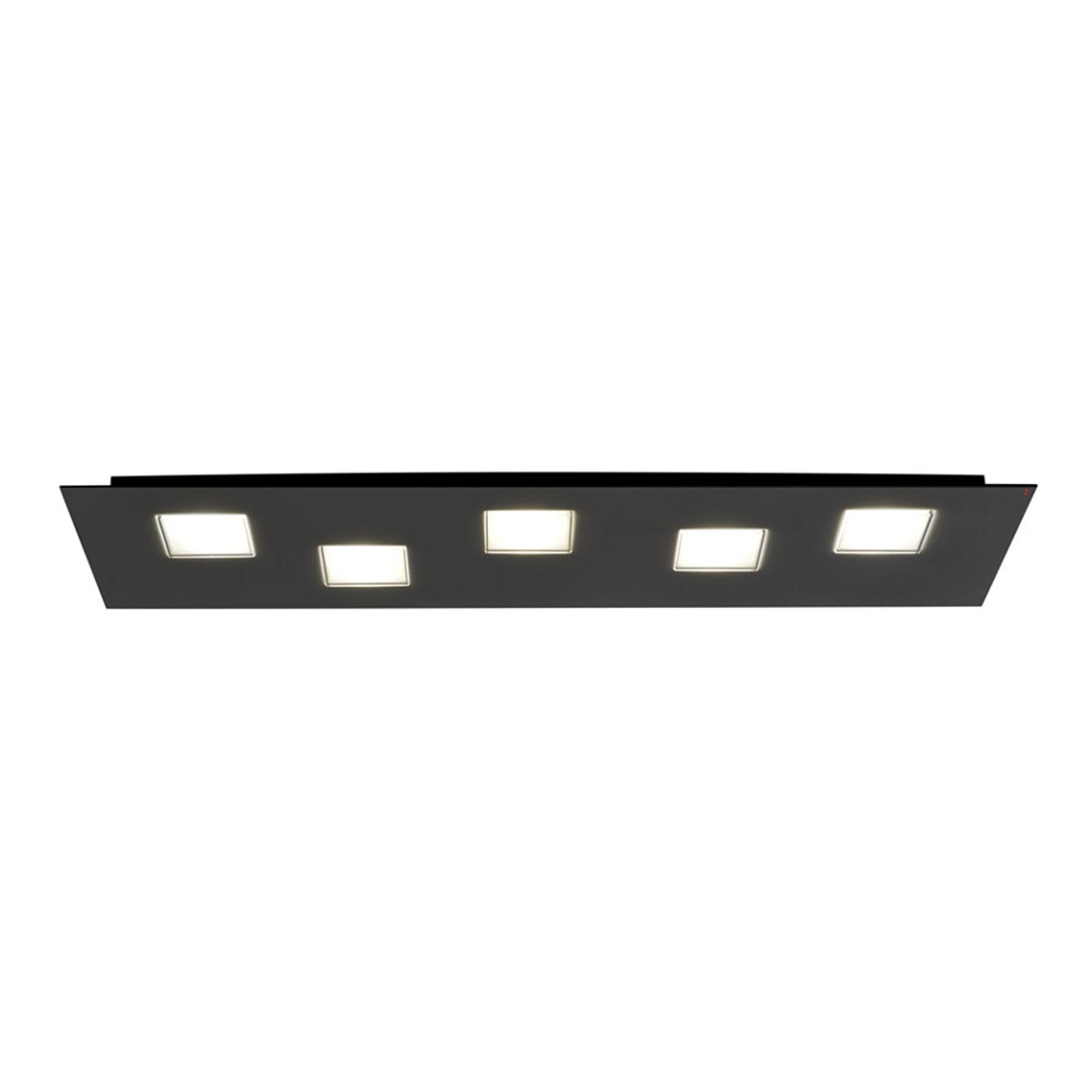 Fabbian Quarter - schwarze LED-Deckenlampe 5flg.