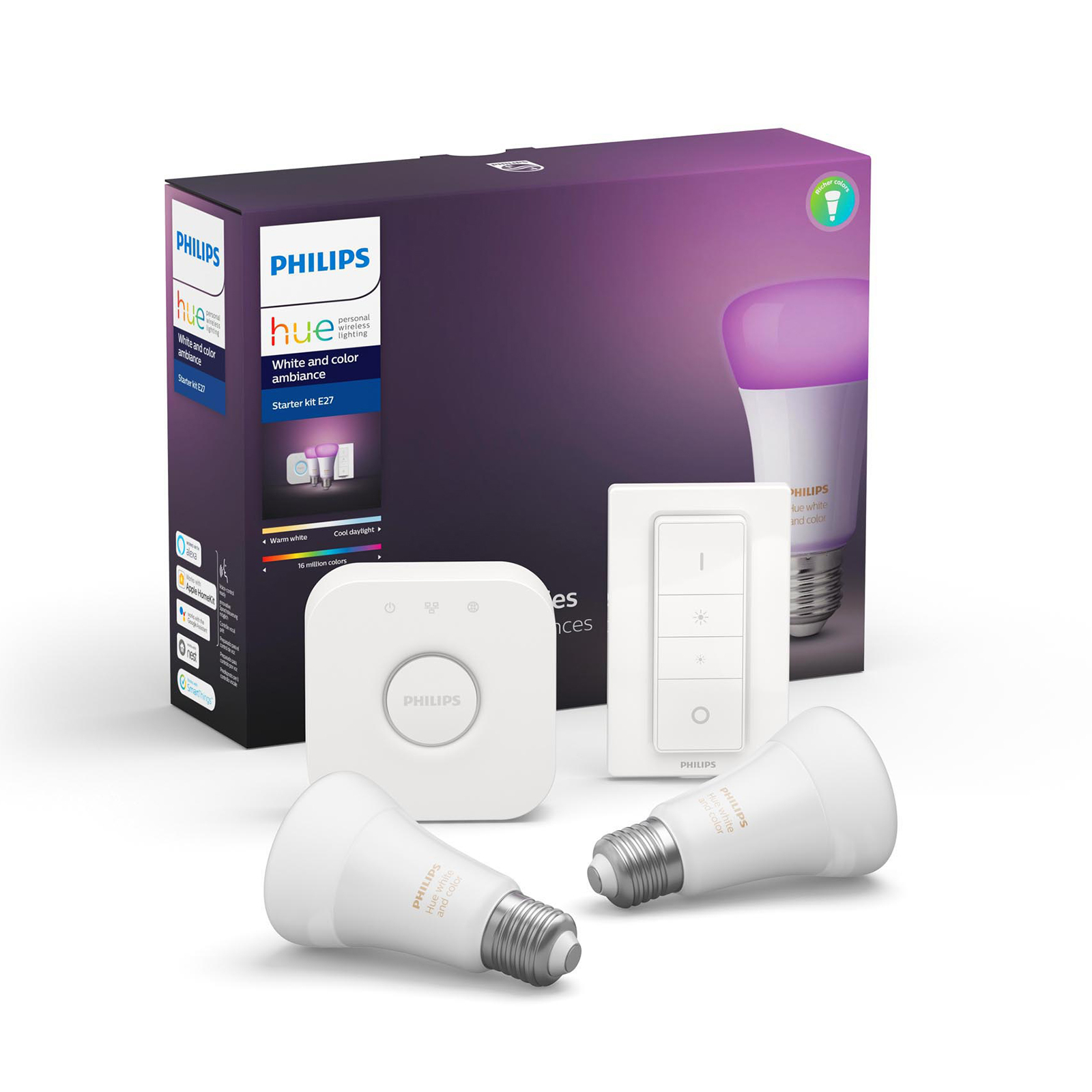 Philips Hue White & Color Ambiance E27 startsett