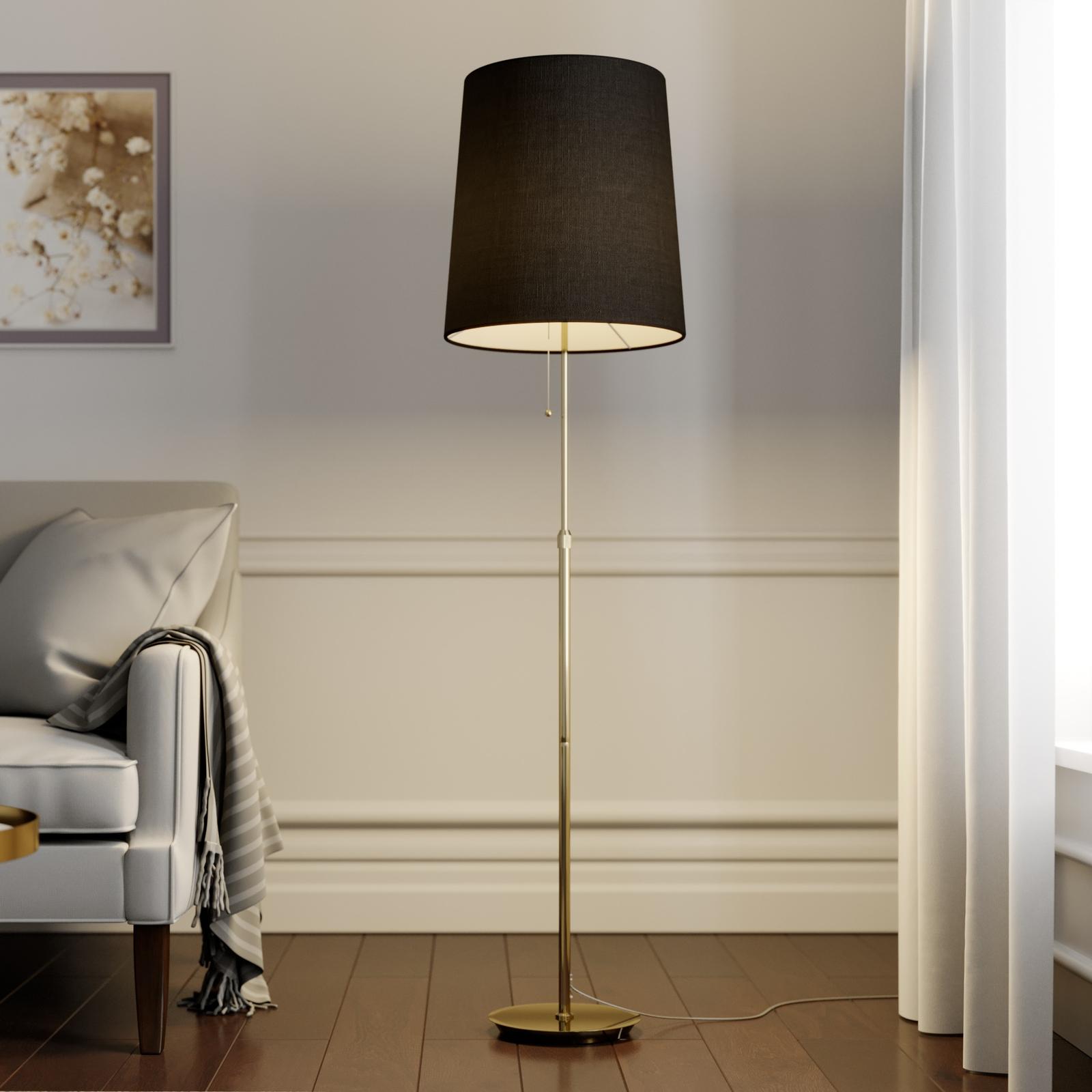Lucande Pordis vloerlamp, 155 cm, messing-goud