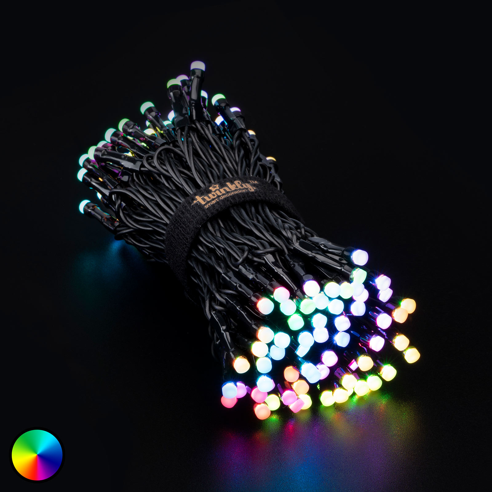 Twinkly RGB lyskæde, sort, 150 lyskilder, 12 m