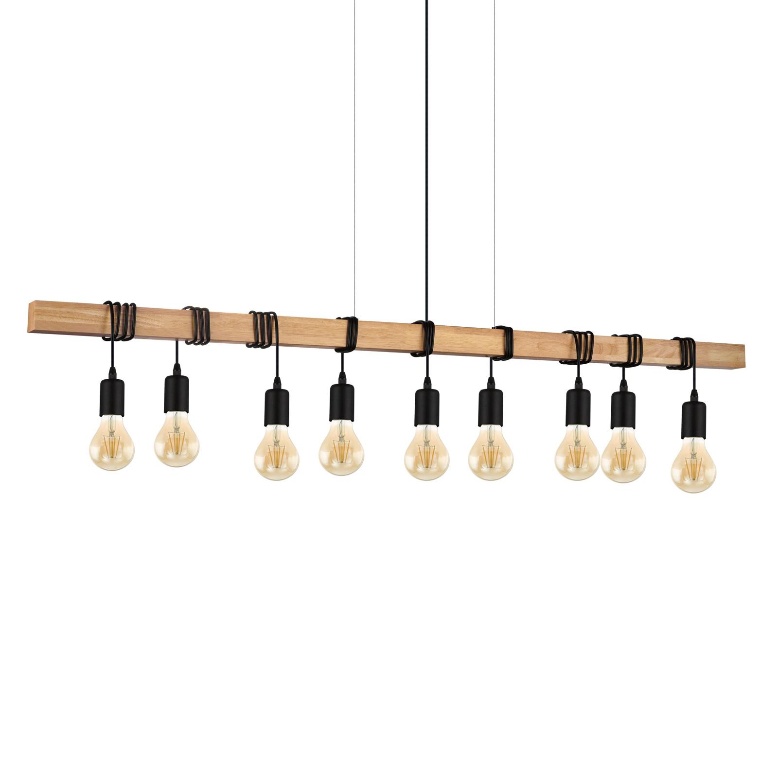 Hanglamp Townshend met hout, 9-lamps