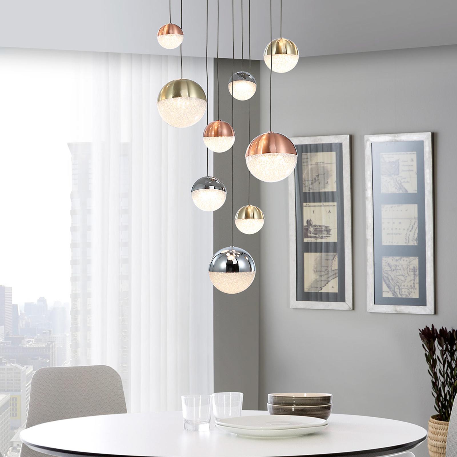 Suspension LED Sphere, multicolore, à 9 lampes