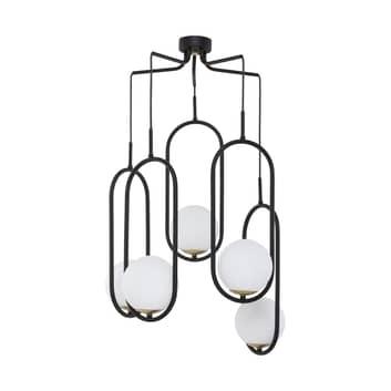 Hanglamp Samba, opaalglas/zwart 5-lamps