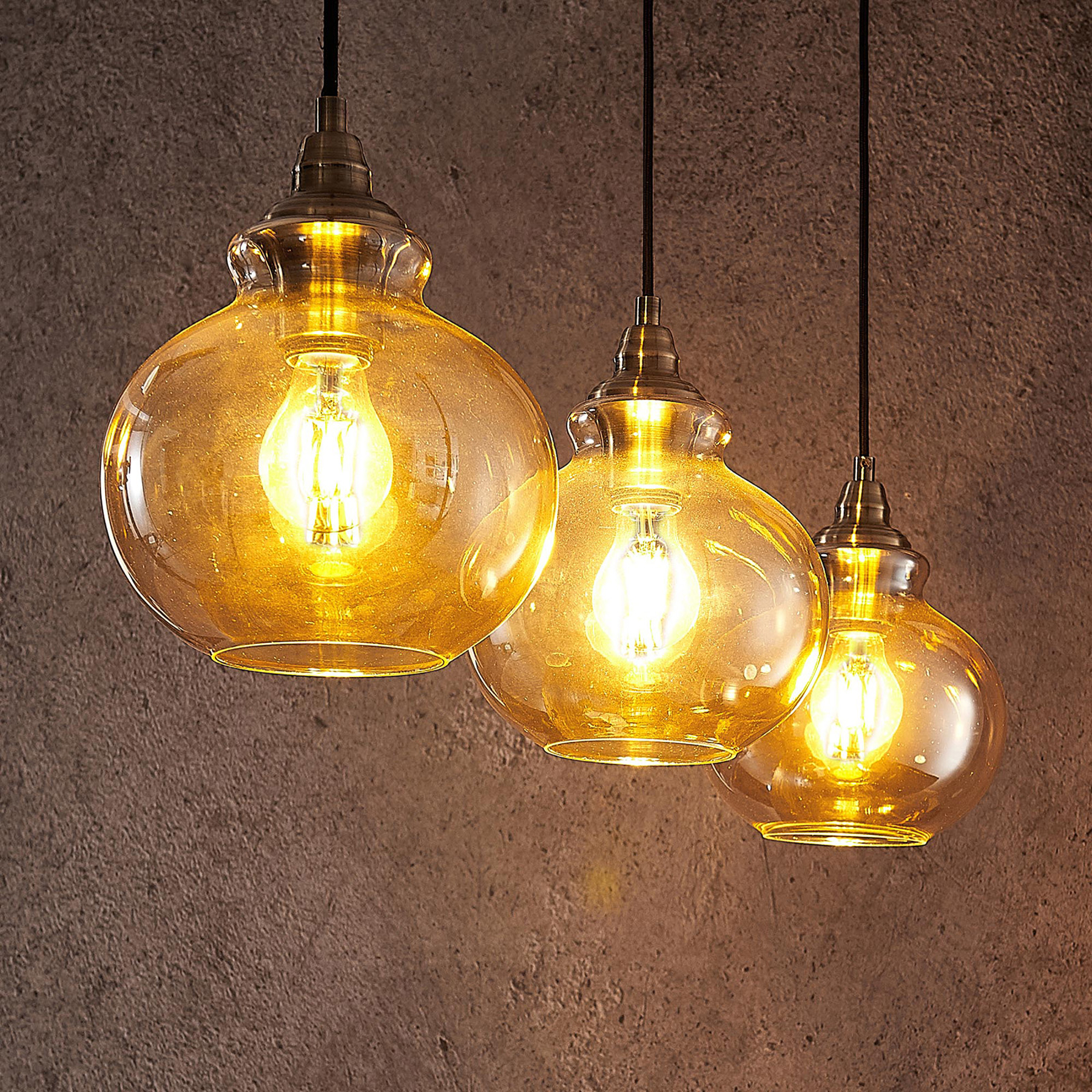 Lindby Tymoni Suspension, ambre, 2 lampes