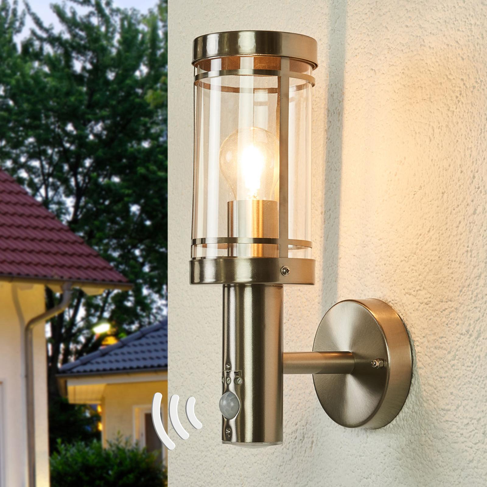Lámpara de pared, sensor Djori ext., acero inox.