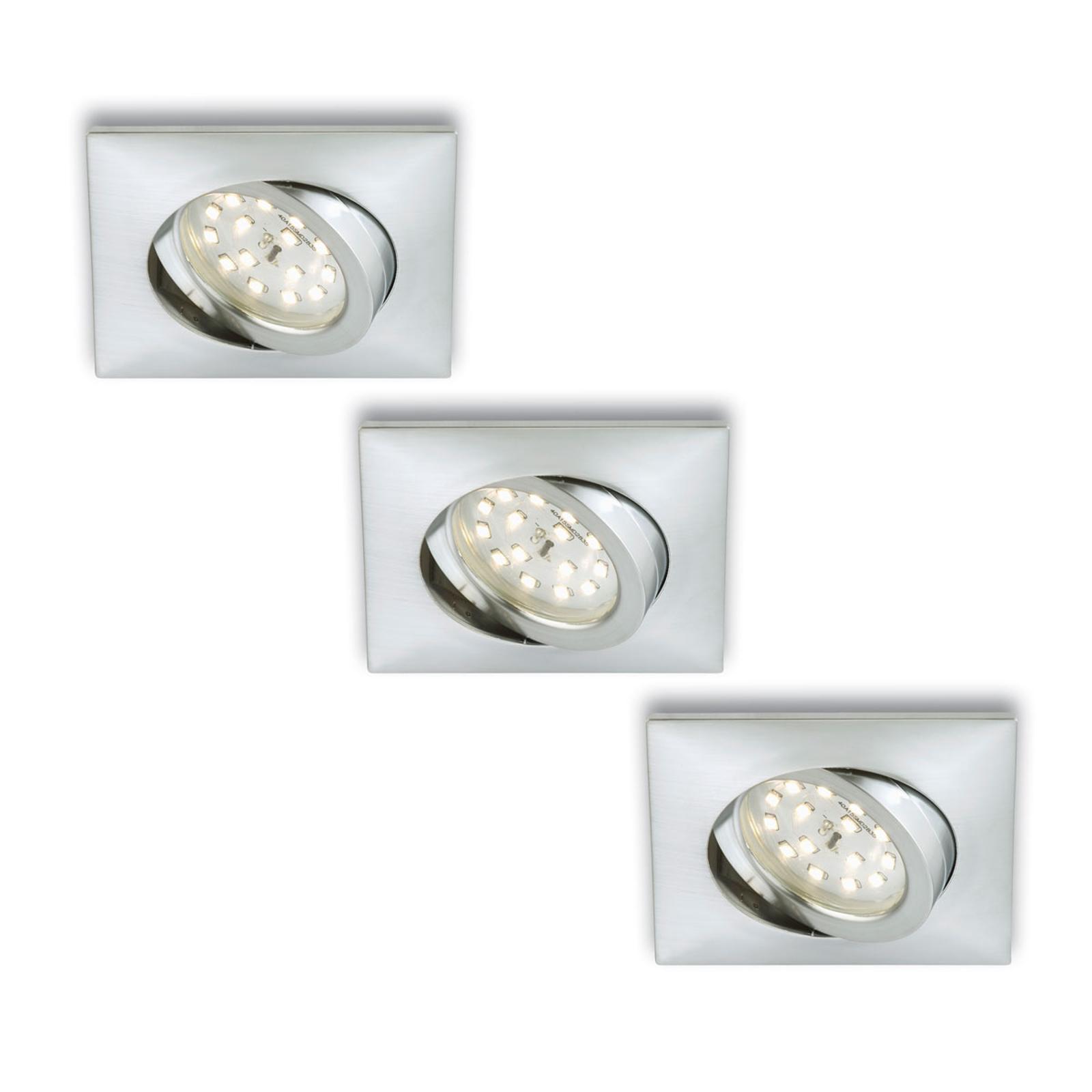 Rect. LED recessed light Erik, aluminium, set of 3_1510296_1