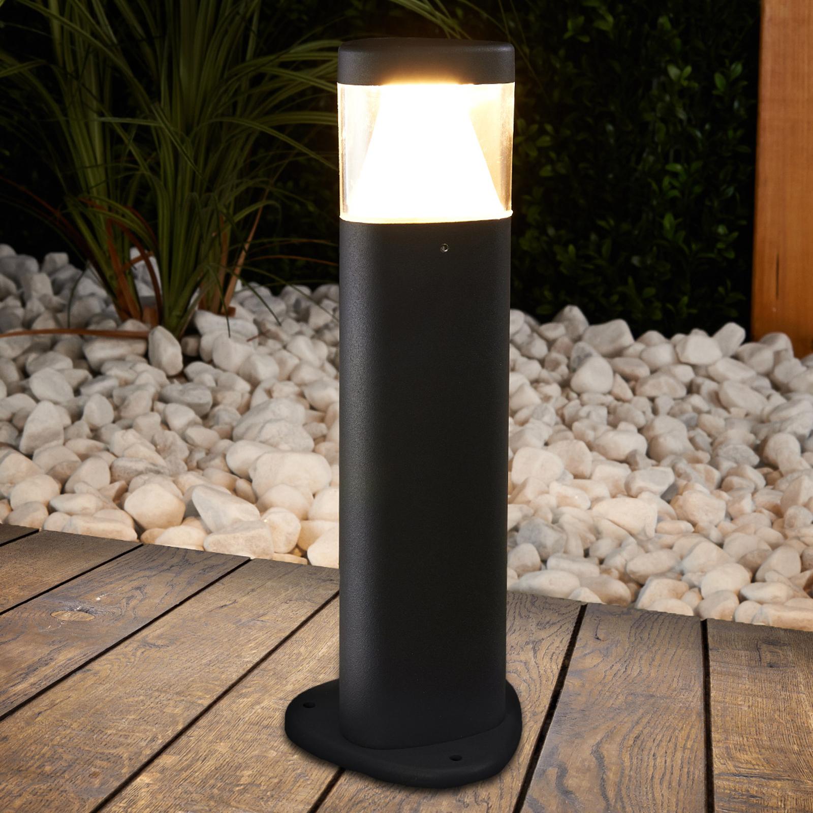 Ciemno szara lampa na cokół LED Milou