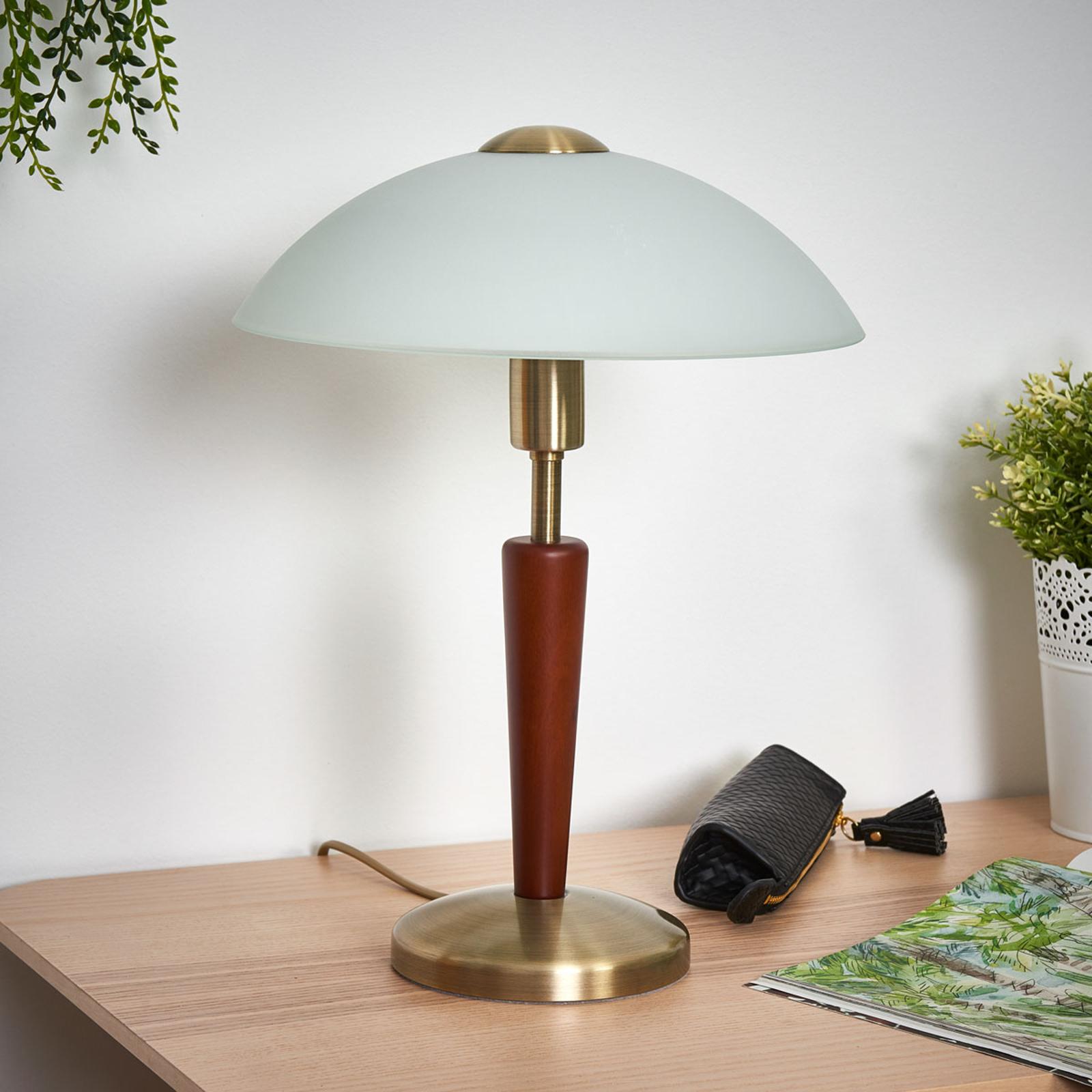 Stolní lampa Salut, brynýrovaná, ořech