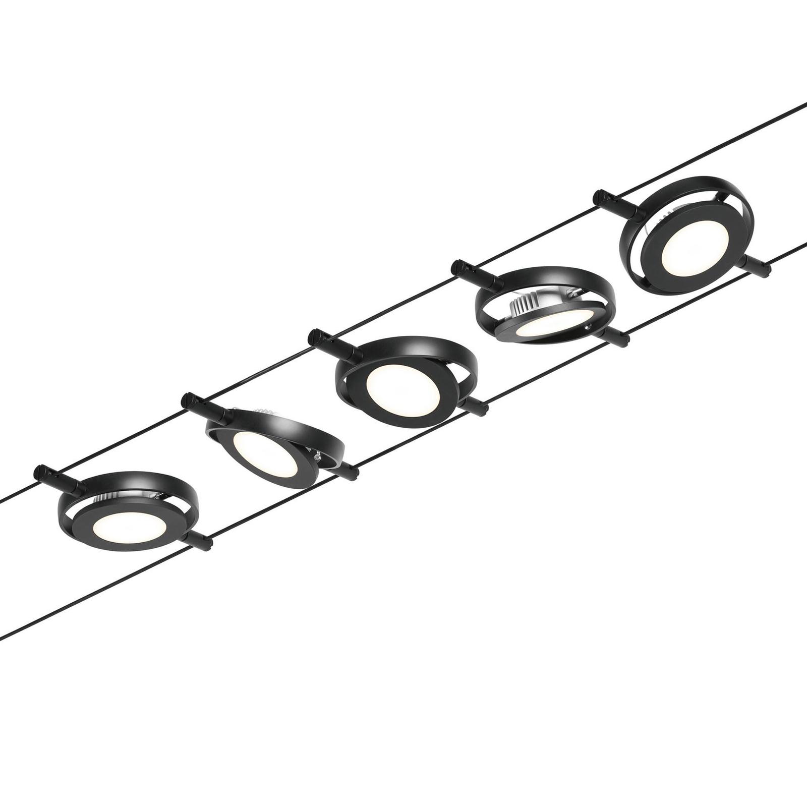 Paulmann Wire RoundMac funi LED 5 luci nero