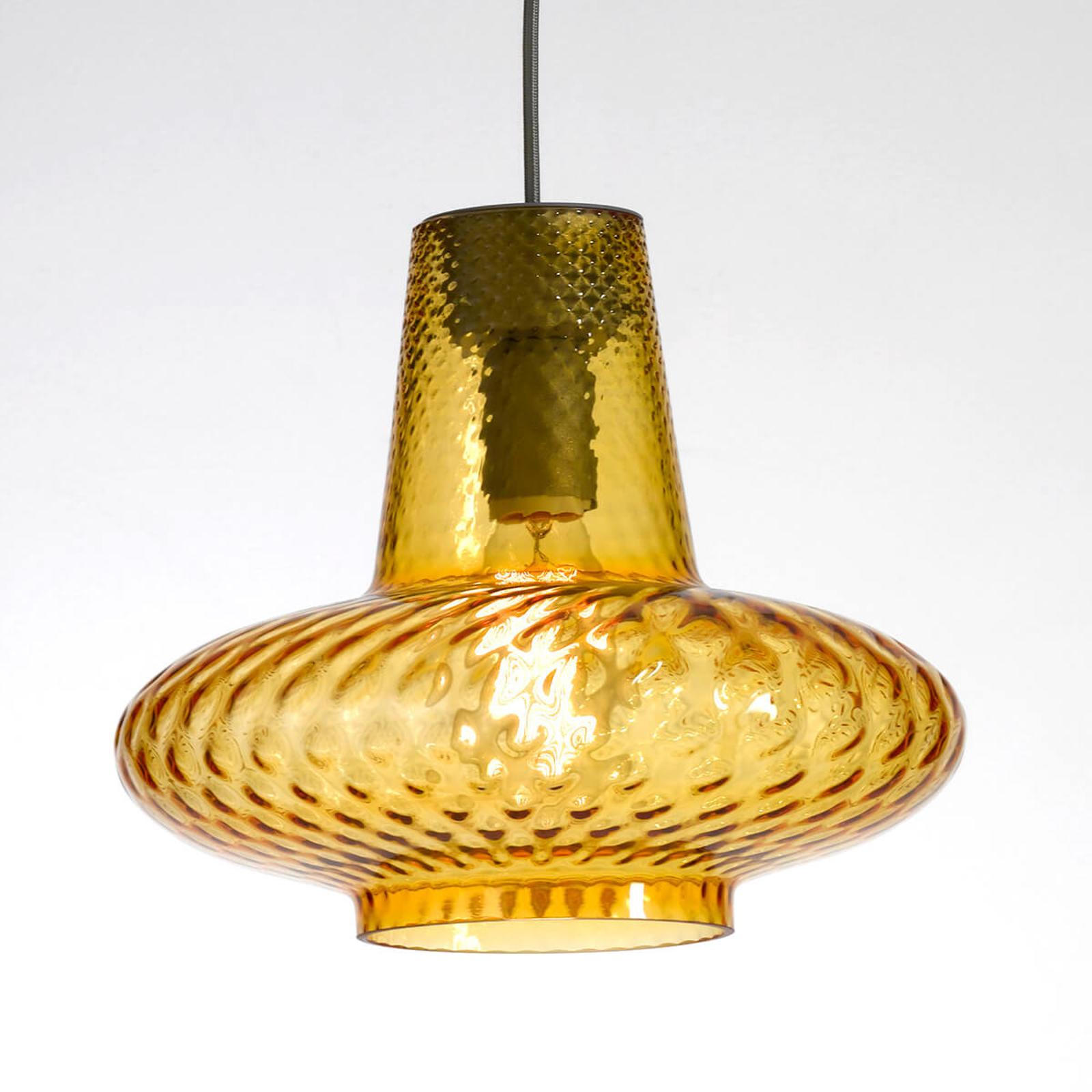 Szklana lampa wisząca Giulietta, bursztynowa