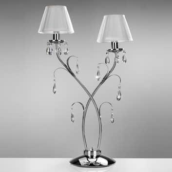 Bordslampa Jacqueline, 2 lampor, vit