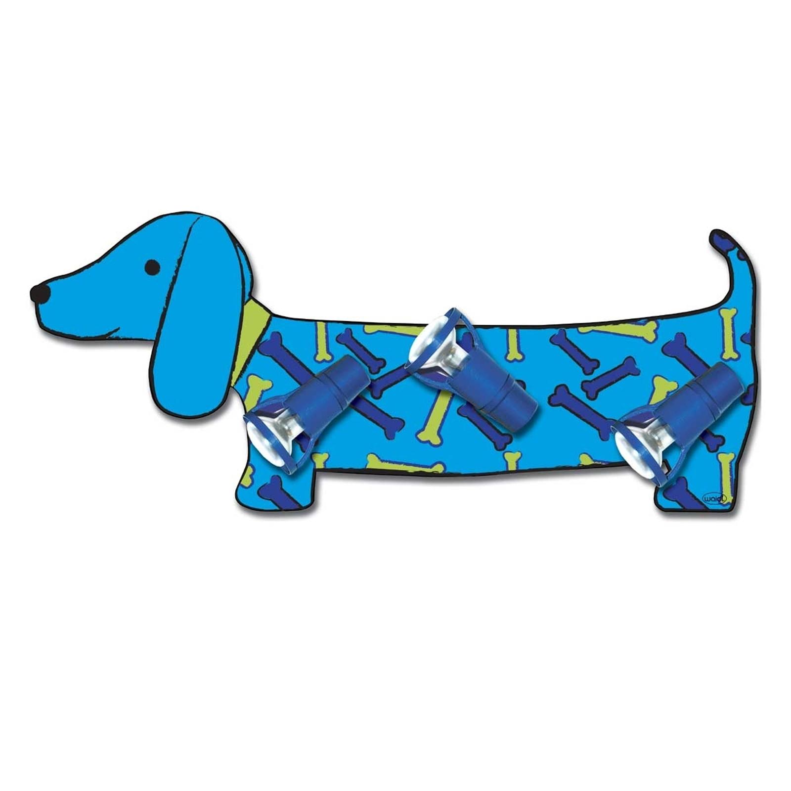Applique bleue Bello en forme de teckel