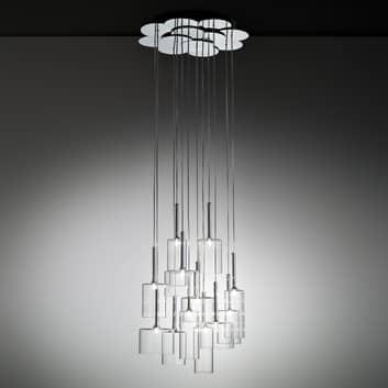 Imponerende glas pendellampe Spillray 12 lyskilder